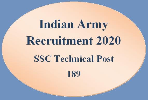 Indian Army SSC Technical Recruitment 2020 -  भारतीय सेना मे SSC Technical भर्ती 2020