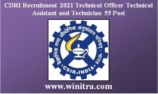 CDRI Recruitment 2021 Technical Officer Technical Assistant and Technician 55 Post