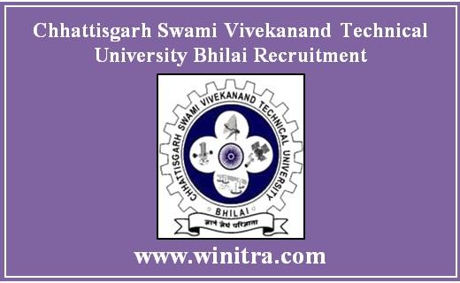 Chhattisgarh Swami Vivekanand Technical University Bhilai Recruitment