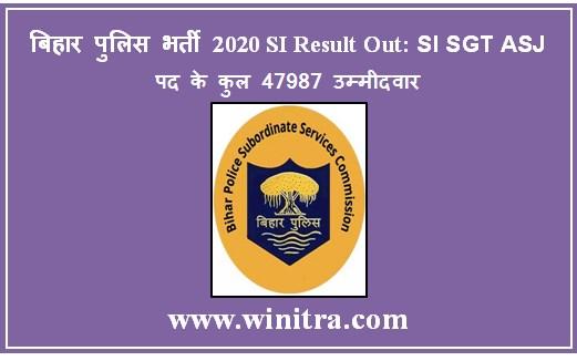 बिहार पुलिस भर्ती 2020 SI Result Out: