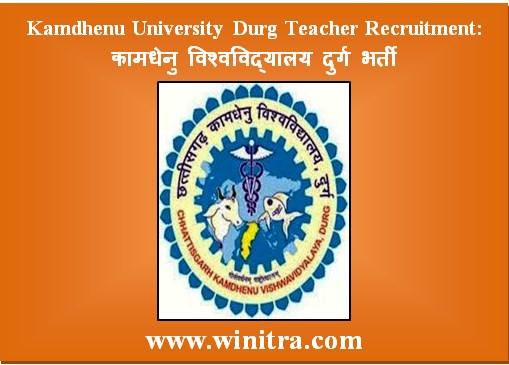 Kamdhenu University Durg Teacher Recruitment