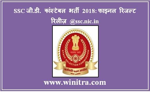 SSC जी.डी. कांस्टेबल भर्ती 2018: फाइनल रिजल्ट रिलीज़ @ssc.nic.in