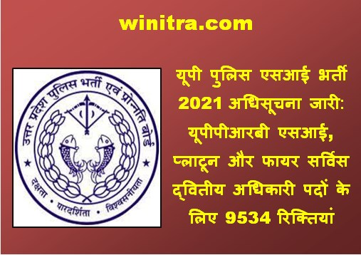 UP Police 9534 Post Notification 2021