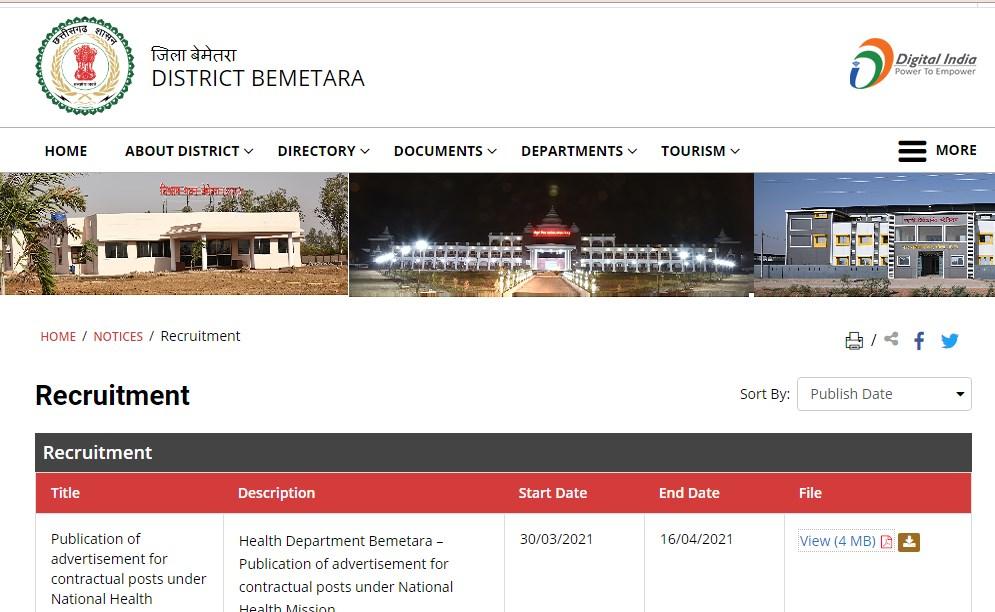 National Health Mission Bemetara Recruitment 2021 For 30 Posts