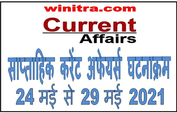 Weekly Current Affairs 24 May to 29 May 2021