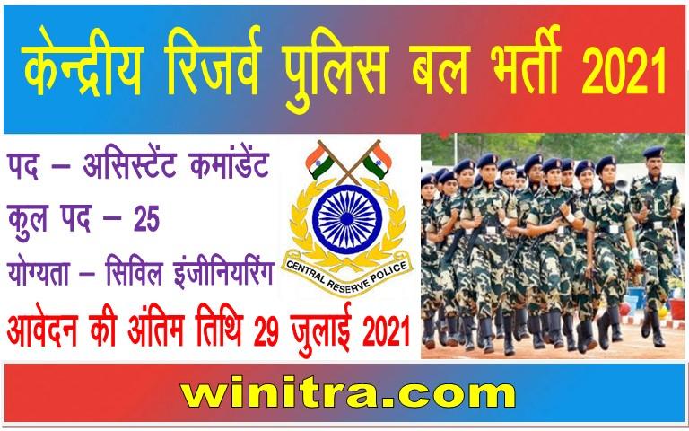 CRPF Bharti 2021 Apply Assistant Commandant Posts