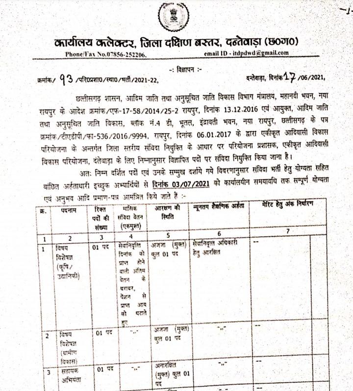 Dantewada District Govt Jobs Recruitment Vacancy 2021