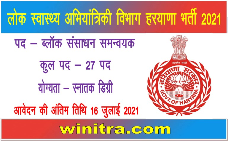 Haryana PHED Department Recruitment 2021