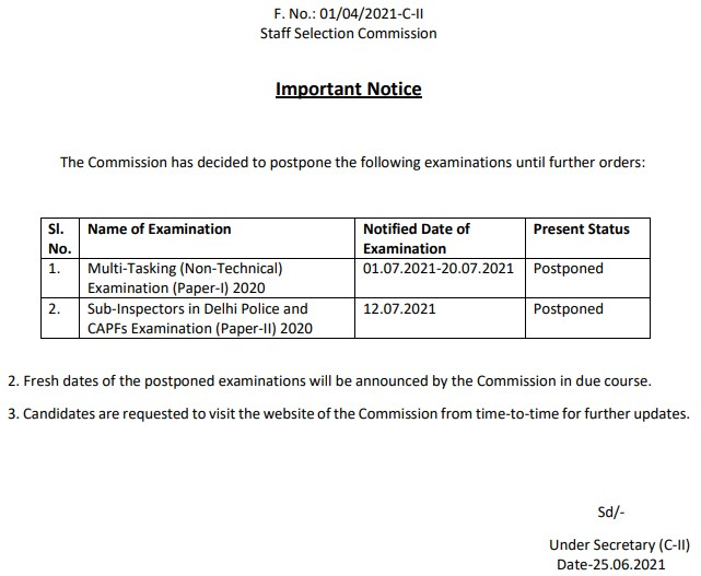 SSC Exam Notification 2021