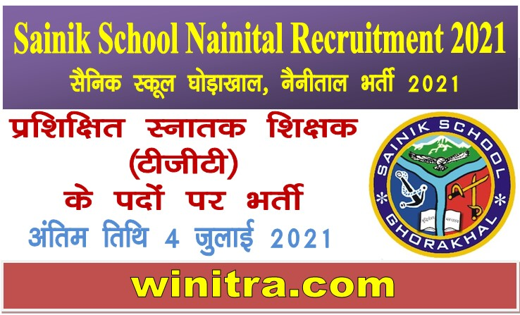 Sainik School Nainital Recruitment 2021