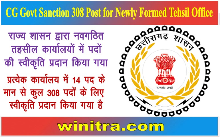 CG Govt Sanction 308 Post for Newly Formed Tehsil Office