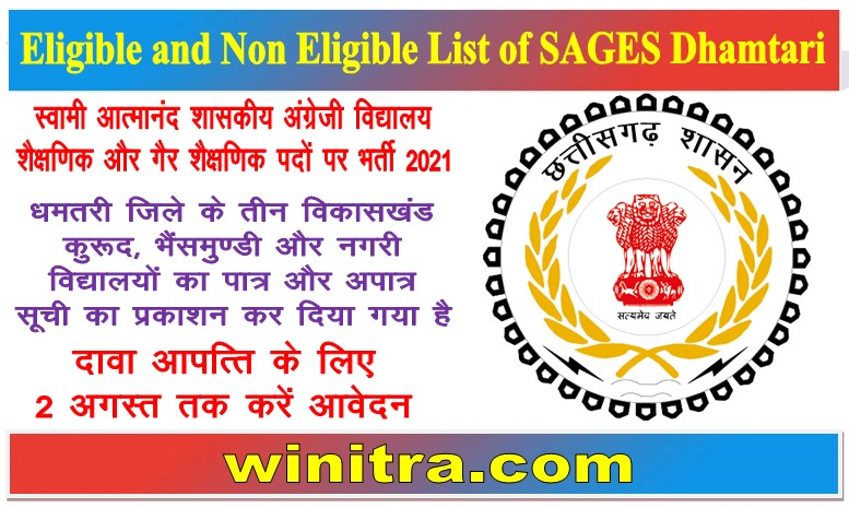 Eligible and Non Eligible List of SAGES Dhamtari
