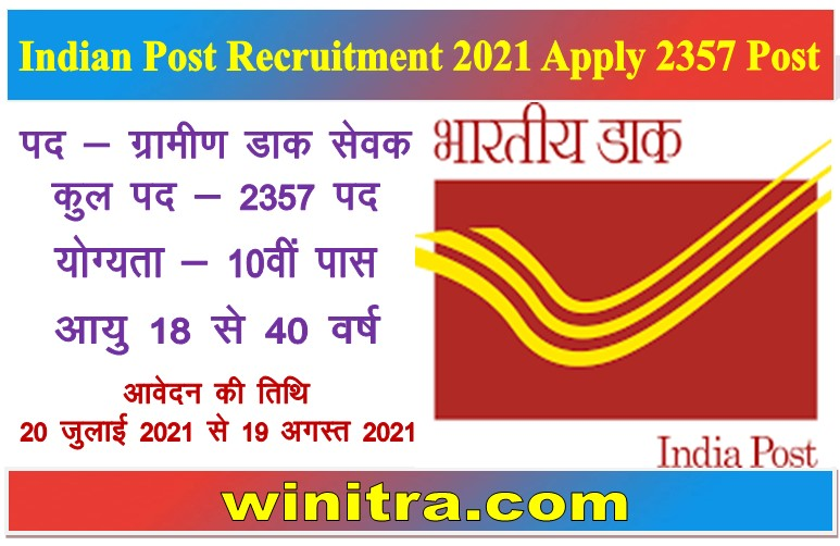 Indian Post Recruitment 2021 Apply 2357 Post