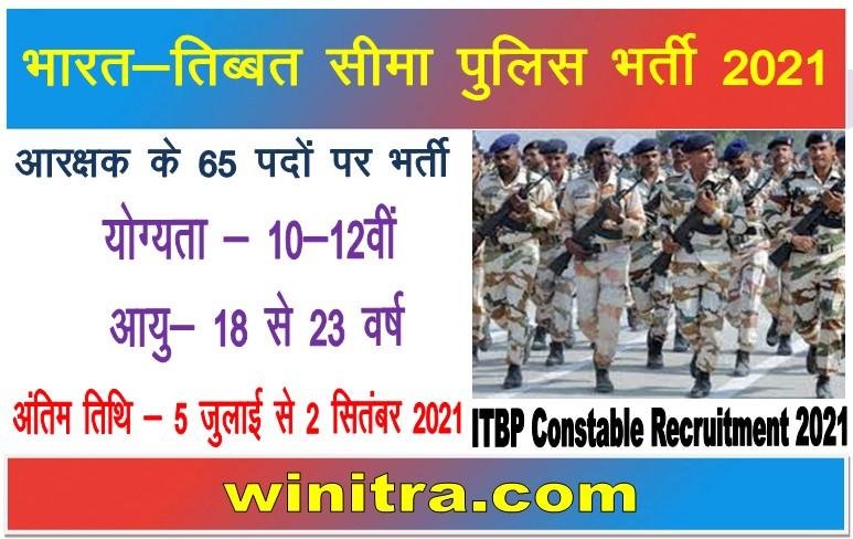 Indo-Tibetan Border Police ITBP Constable Recruitment 2021