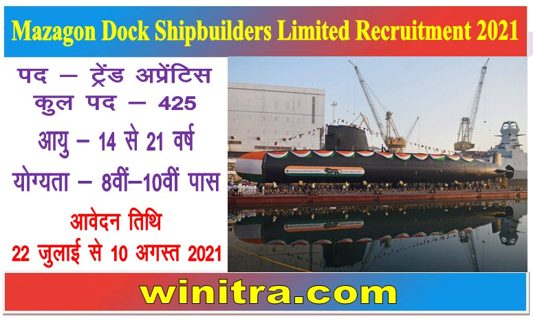 Mazagon Dock Shipbuilders Limited Recruitment 2021