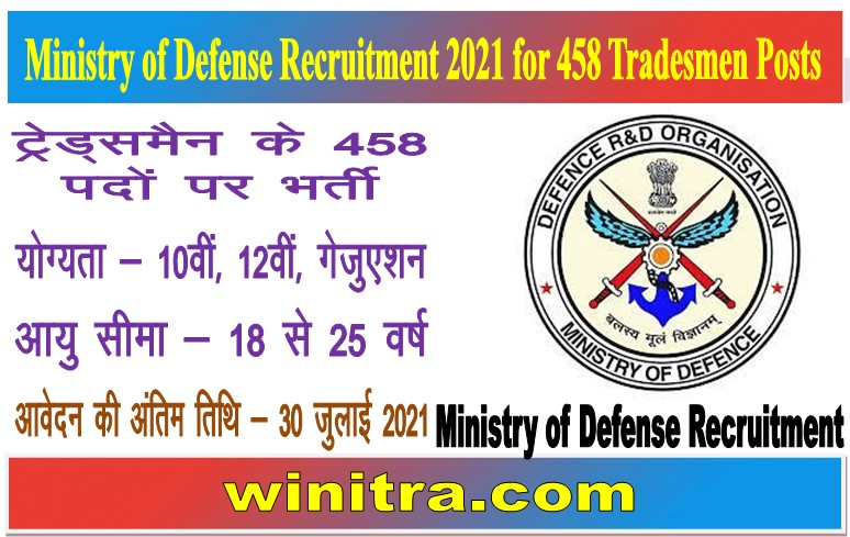 Ministry of Defense Recruitment 2021 for 458 Tradesmen Posts