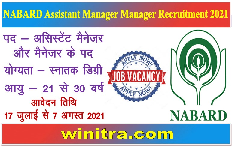 NABARD Assistant Manager Manager Recruitment 2021