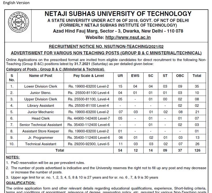 NSUT Recruitment 2021 For 126 Non Teaching Posts
