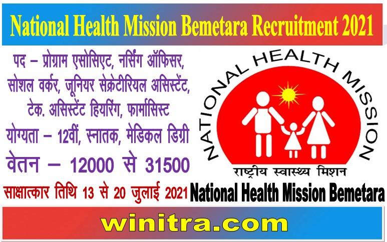 National Health Mission Bemetara Recruitment 2021