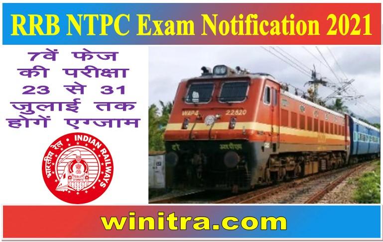 RRB NTPC Exam Notification 2021