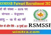 RSMSSB Patwari Recruitment 2021 Apply 5378 Posts