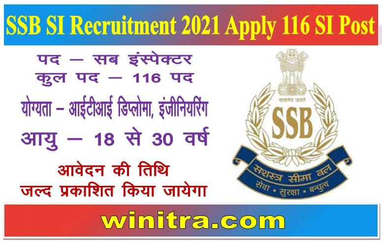 SSB SI Recruitment 2021 Apply 116 SI Post