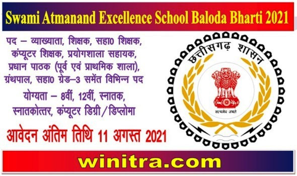 Swami Atmanand Excellence School Baloda Bharti 2021