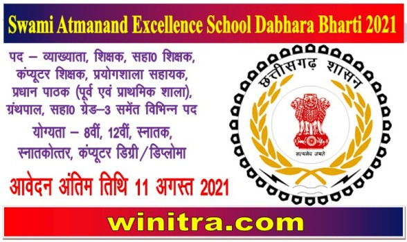 Swami Atmanand Excellence School Dabhara Bharti 2021