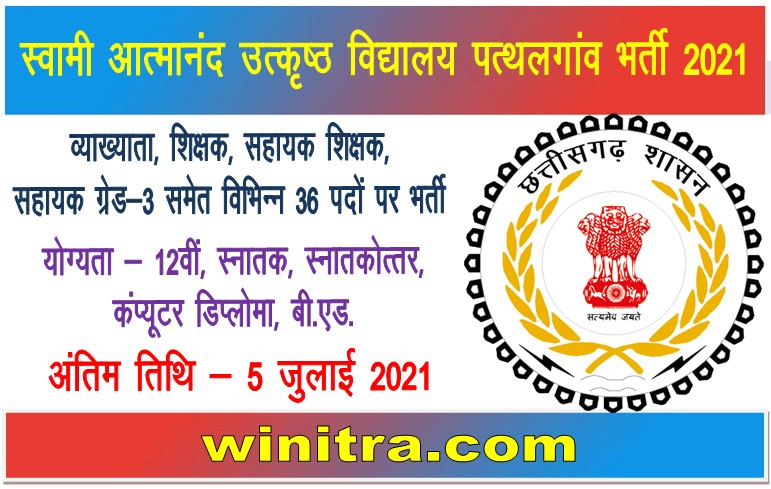 Swami Atmanand Excellence School Patthalgaon Bharti 2021