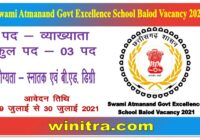 Swami Atmanand Govt Excellence School Balod Vacancy 2021