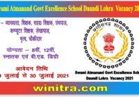Swami Atmanand Govt Excellence School Daundi Lohra Vacancy 2021