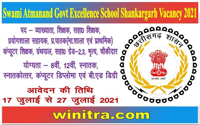 Swami Atmanand Govt Excellence School Shankargarh Vacancy 2021