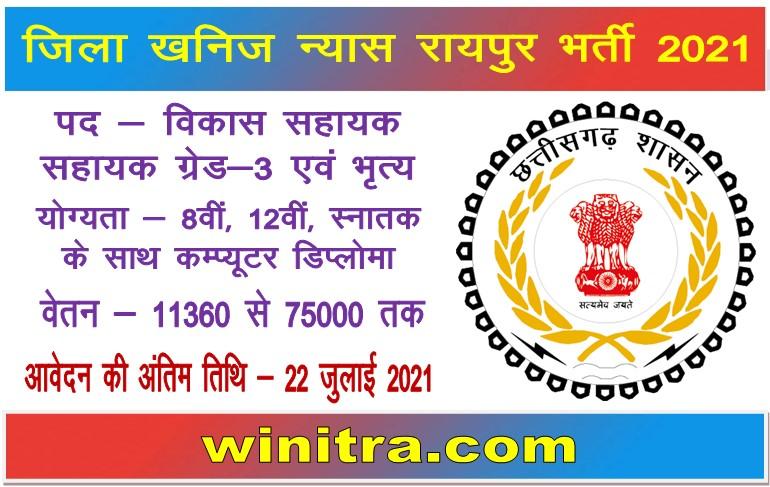 Zila Panchayat Raipur District Mineral Fund Recruitment 2021