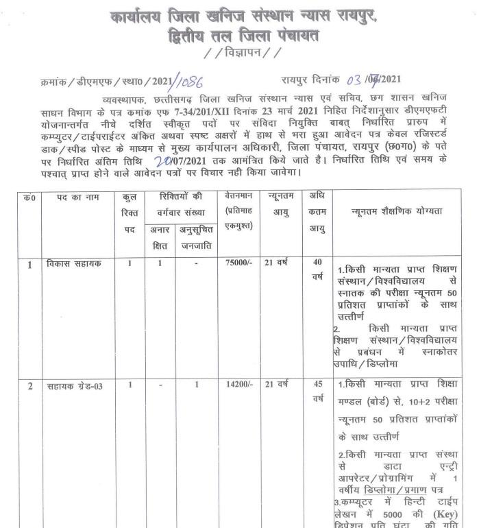 Zila Panchayat Raipur Recruitment 2021 Apply Vikas Sahayak Posts