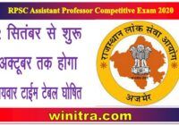 RPSC Assistant Professor Competitive Exam 2020