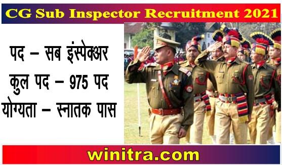 CG Sub Inspector Recruitment 2021