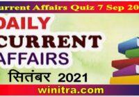 Current Affairs Quiz 7 Sep 2021