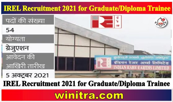 IREL Recruitment 2021 for Graduate and Diploma Trainee