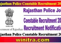 Rajasthan Police Constable Recruitment 2021 Notification