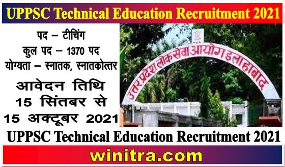 UPPSC Technical Education Recruitment 2021